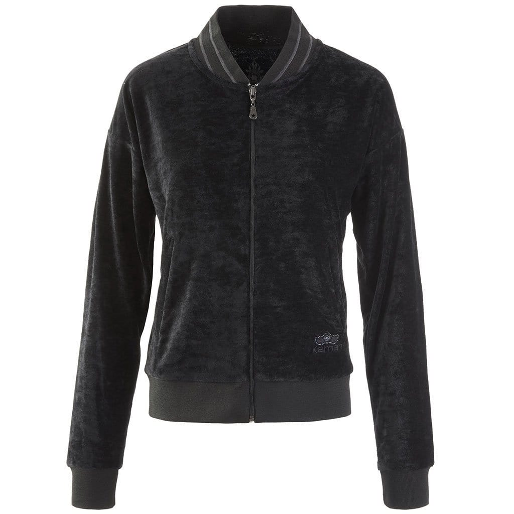 "Zipper jacket made of velvet ""Tien"" in charcoal - Kamah Yoga and Style"
