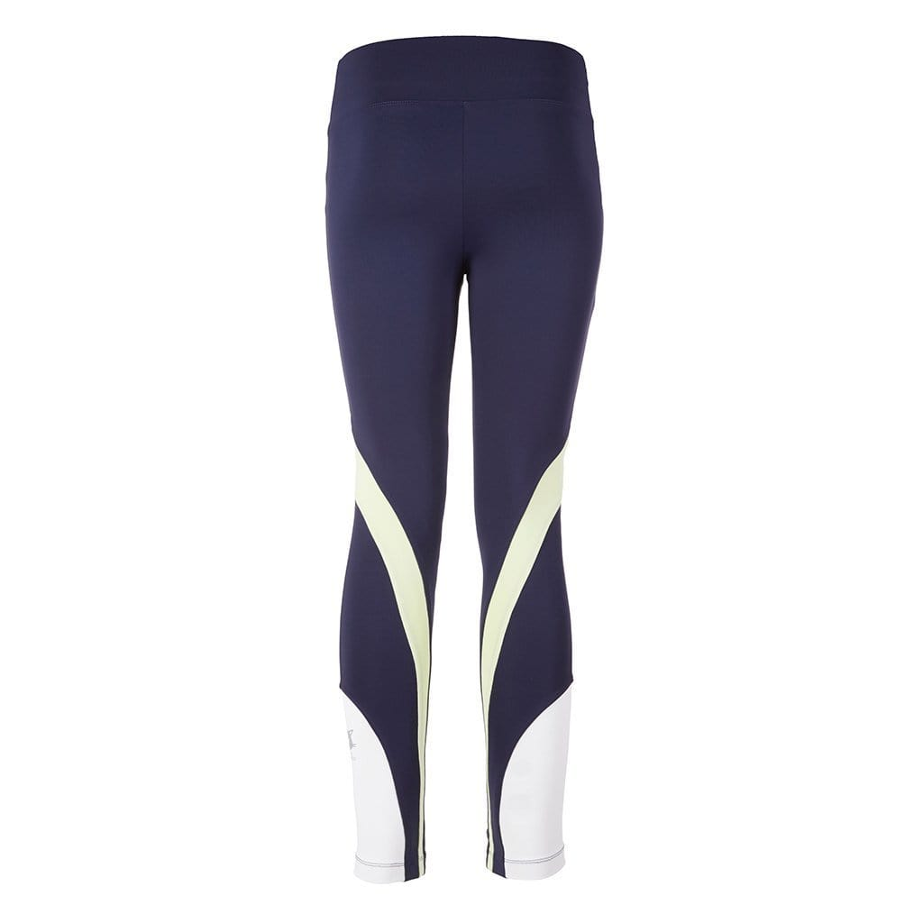 "Yoga Legging ""Sophie"", nightblue/white/butterfly - Stylische Yogatights  mit Colour Blocking - Kamah Yoga and Style"