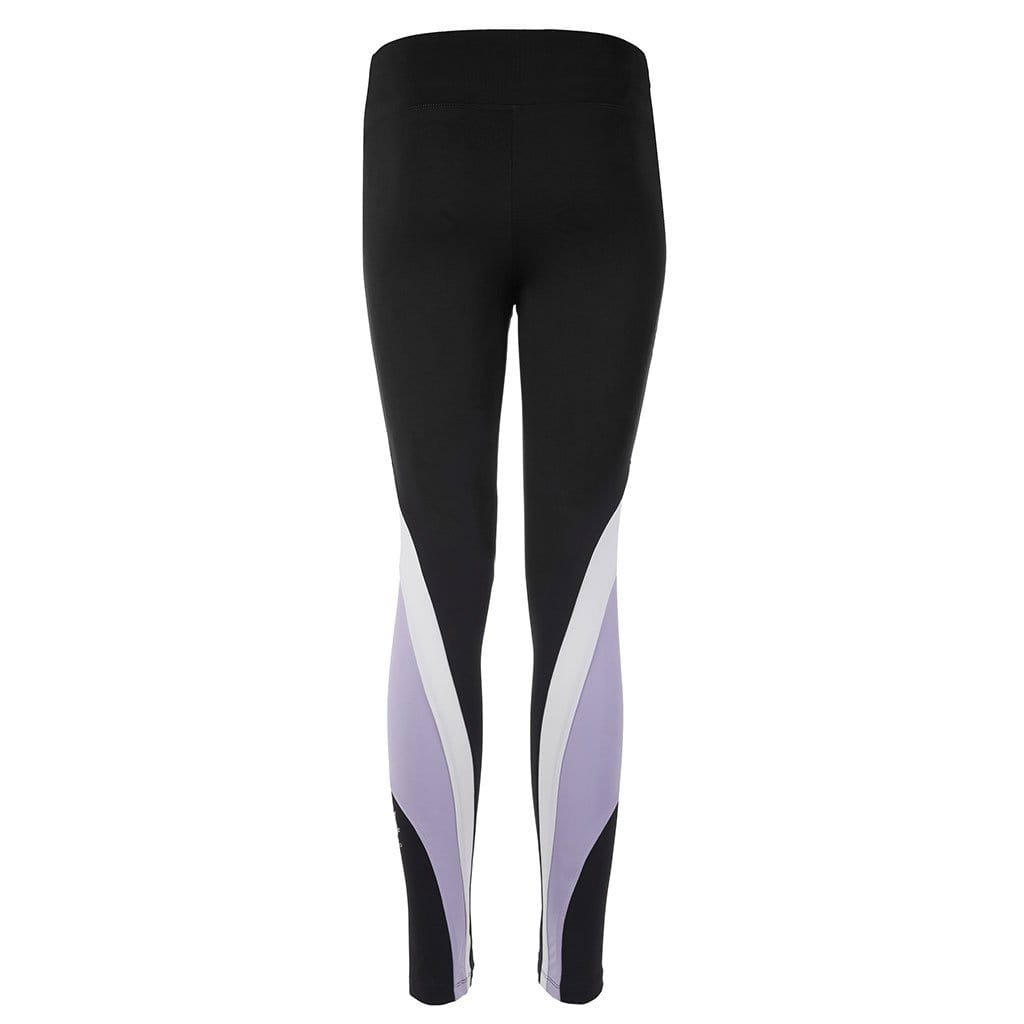"Yoga-Leggings ""Sophie"", black/ pale violet/ white - Stylische Yogatights  mit Colour Blocking - Kamah Yoga and Style"