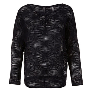 PEGGY - Longsleeve, Mesh, charcoal - Kamah Yoga and Style
