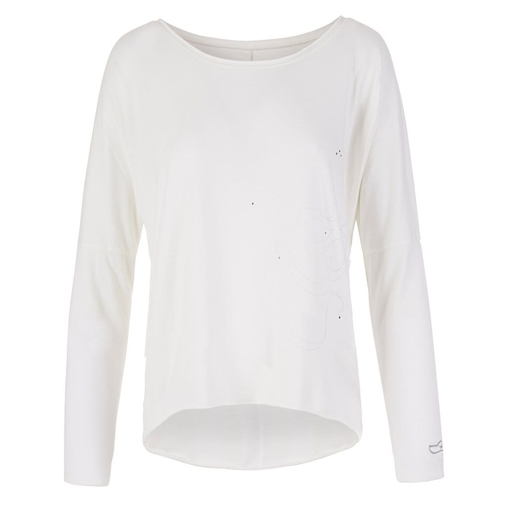 "Lounge-Shirt ""Melody"", offwhite ""OM"" - Lässiges Basic Langarmshirt - Kamah Yoga and Style"