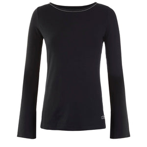 "Yoga shirt ""Tabea"", black - long sleeve shirt with trumpet sleeves - Kamah Yoga and Style"