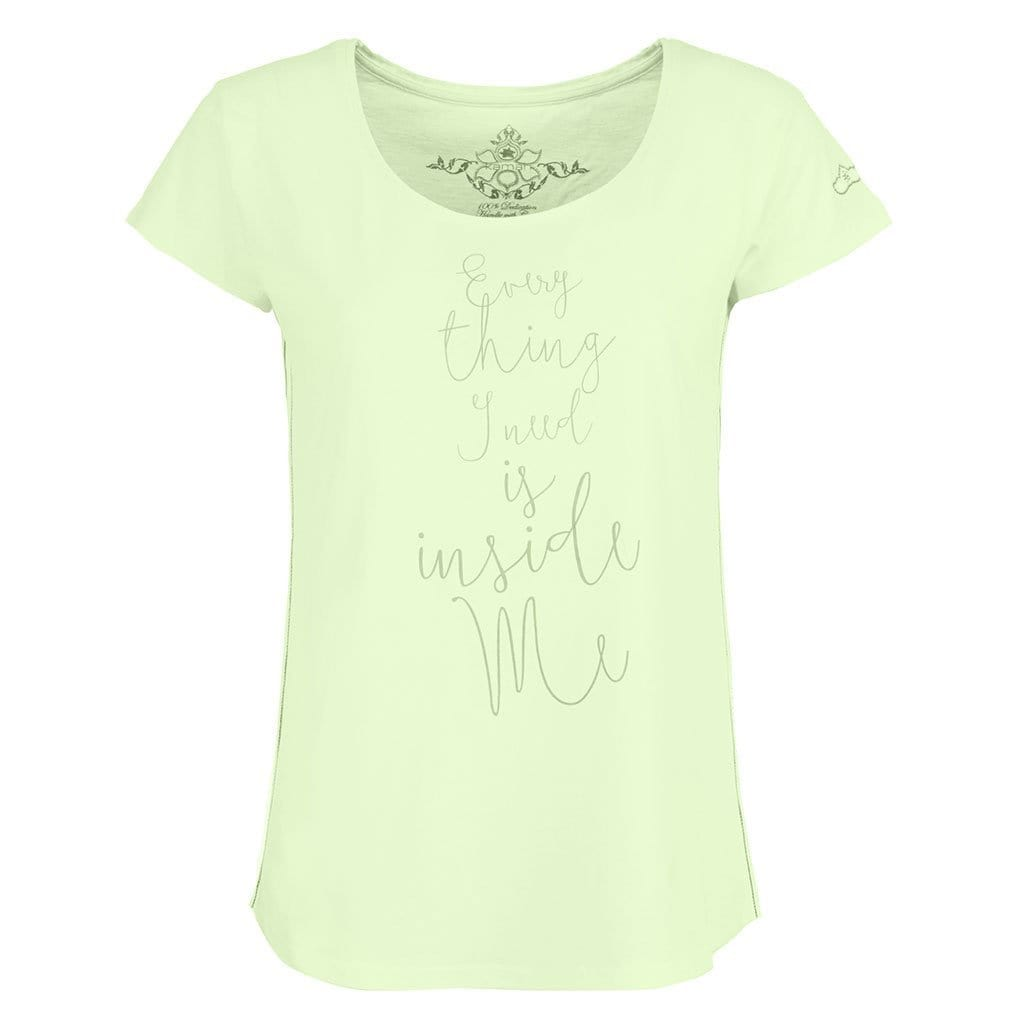 "Yoga-Shirt ""Pearl"", butterfly - Feines Basic T-Shirt mit Motto-Print - Kamah Yoga and Style"