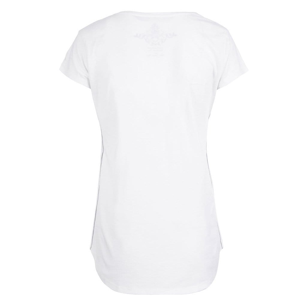 "Yoga-Shirt ""PEARL"", offwhite - Feines Basic T-Shirt mit Motto-Print - Kamah Yoga and Style"