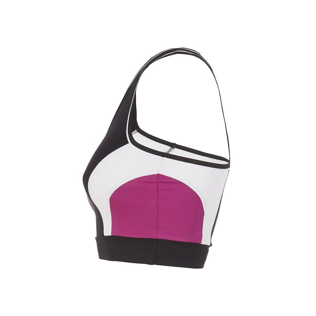"Yoga-Top ""Ruby"", black/fuchsia/white - schnelltrocknender Active Bra - Kamah Yoga and Style"