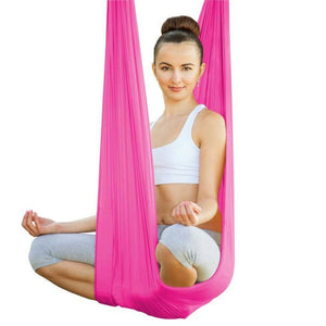 Aerial Yoga Tuch, hot poppy pink-Kamah Yoga and Style