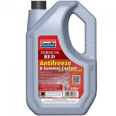 Granville Zerocol Red Antifreeze & Summer Coolant 5 Litre