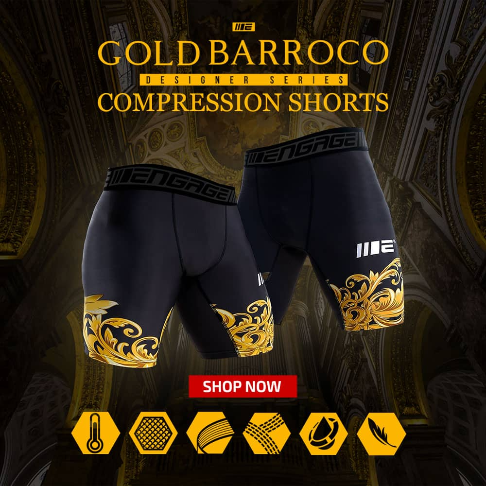 Engage Gold Barroco Designer Series Compression Shorts