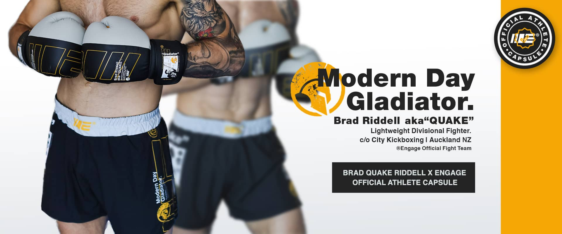 Brad Quake Riddell Modern Day Gladiator MMA Fight Wear and Fight Gear Capsule in collaboration with Engage MMA, includes boxing gloves, MMA Hybrid Shorts and Supporter T-shirt