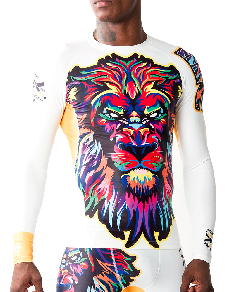 Higher Lion Long Sleeve Compression Rash Guard White