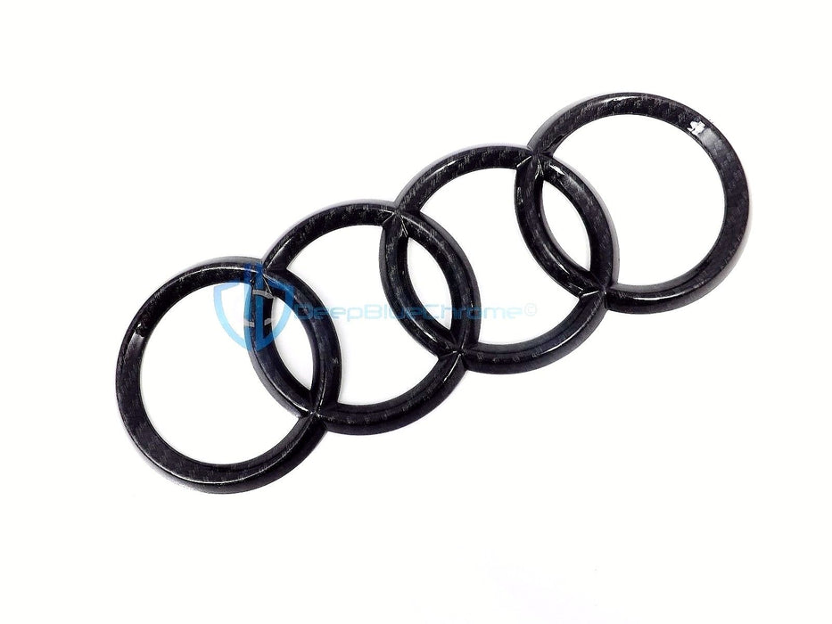 Audi Carbon Fiber Rings Logo Emblem R8 08-11 Rear Trunk SQ5 Q5 09-15 Genuine OEM
