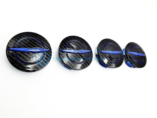 Chrysler Blue Black Carbon Fiber Wheel Center Caps 200 300