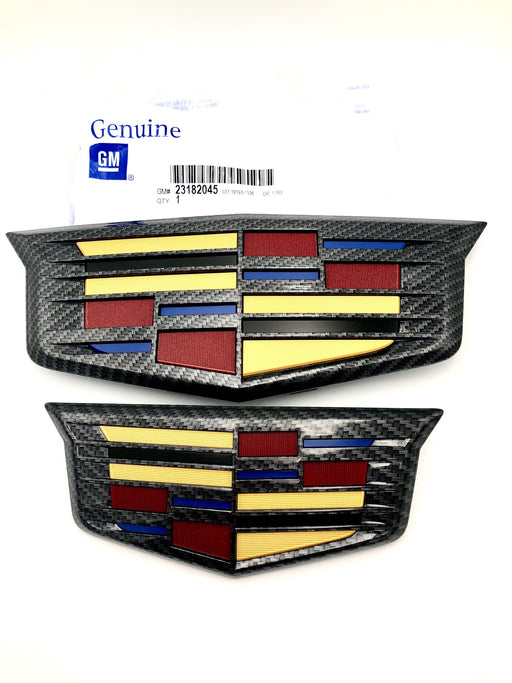 Cadillac Escalade Black Carbon Fiber Front Rear Emblem Set 16-19 Genuine GM OEM