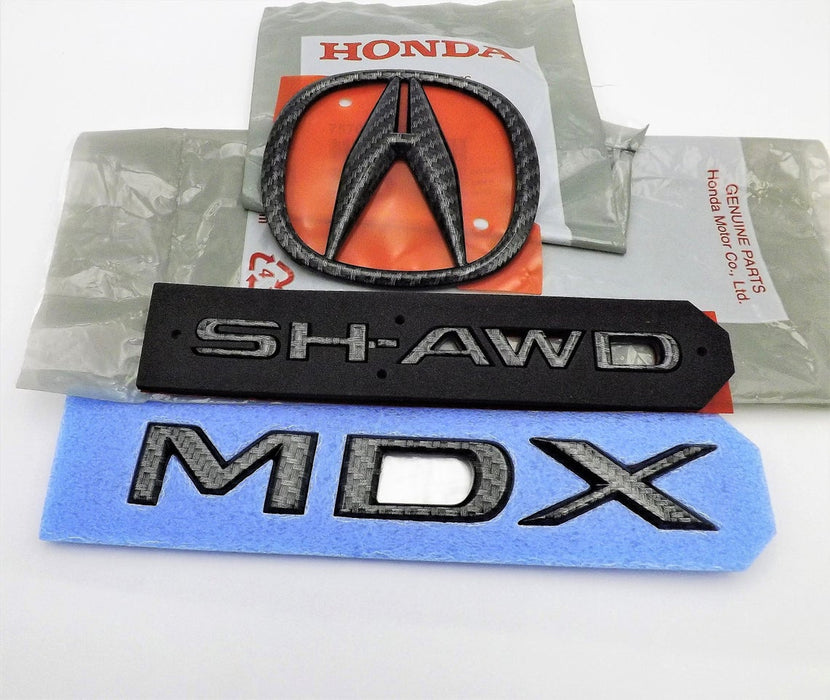 Acura MDX 17-20 Black Carbon Fiber Rear Trunk Badge SH-awd Emblem Set X3 OEM