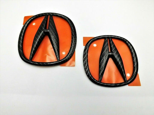Acura NSX 17-20 Black Carbon Fiber Emblem Set Front and Rear Genuine OEM