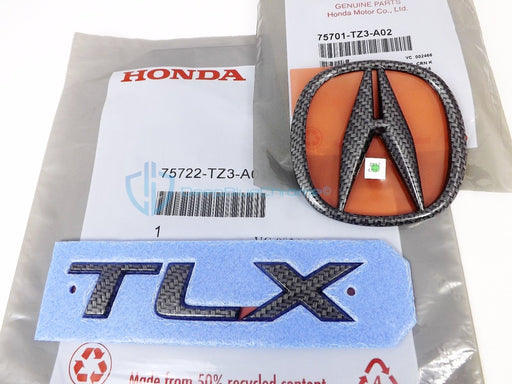 Acura TLX 2015-2017 Carbon Fiber Emblem Set Rear Trunk Lid Badges OEM Logo Nameplate
