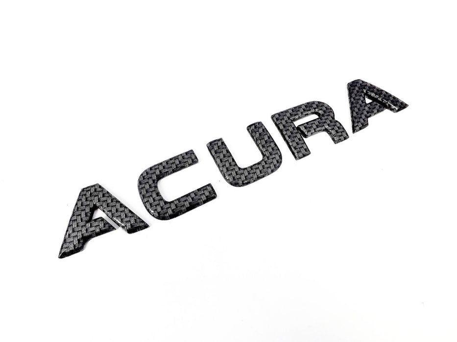 Acura Carbon Fiber Emblem Custom Remanufactured Nameplate Lettering Letters Black