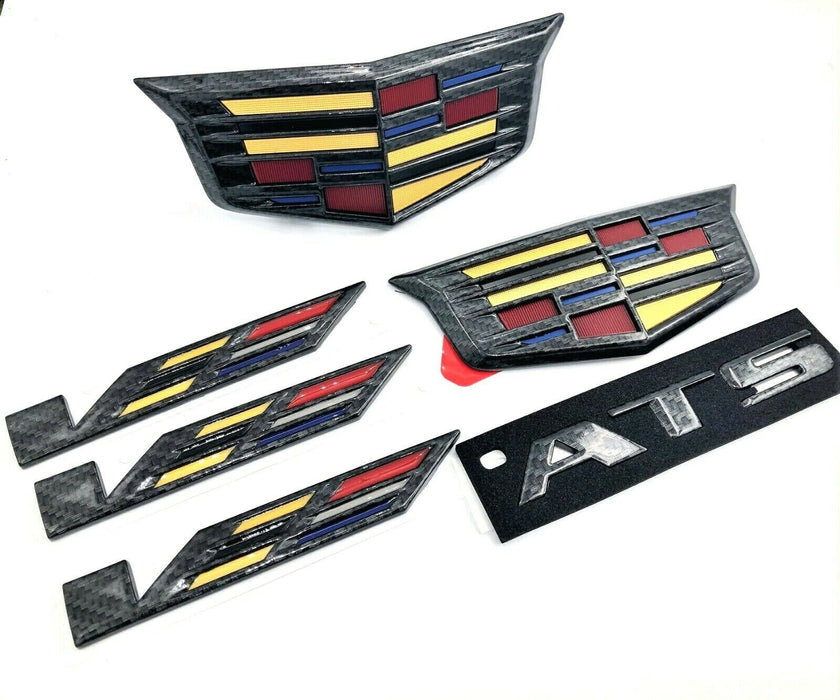 Cadillac ATS V Black Carbon Fiber Emblem Set 16-19 Genuine GM V OEM Package ATSV