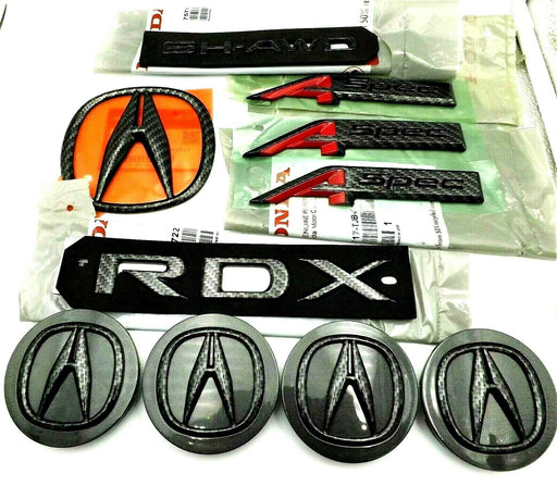Acura RDX A-Spec 19-20 Black Carbon Fiber Emblem Trunk Badge Wheel Caps Set X10