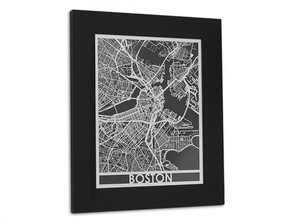 Boston Stainless Steel Cut City Map