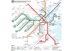 2016 MBTA Rapid Transit Map w/Key Bus Routes