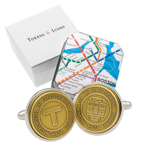 Silver Plate MBTA Token Cuff Links