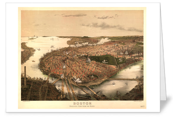 Boston Birds Eye View Greeting Card