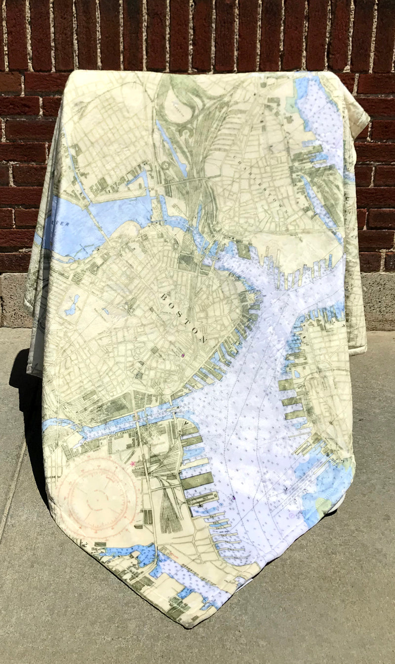 Boston Nautical Chart Blanket