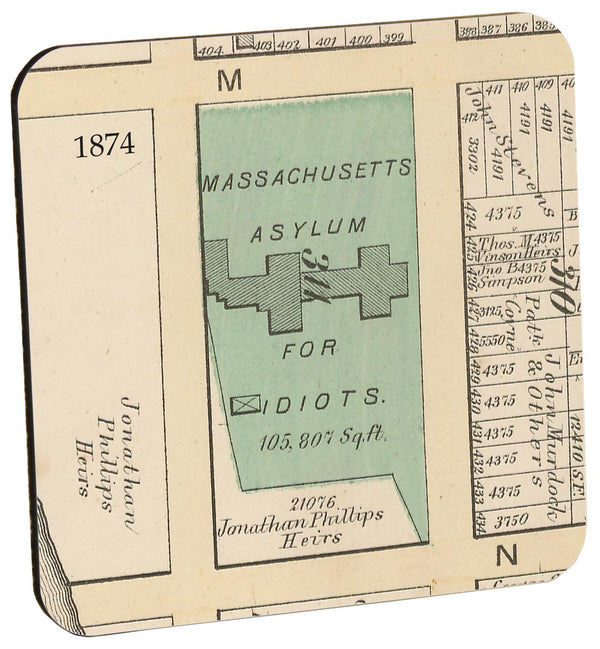 Massachusetts Asylum for Idiots Wood Coaster
