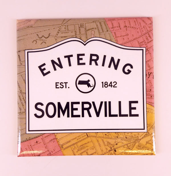 Entering Somerville Map Magnet