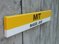 Bus Stop MIT Mass. Ave 2' Wood Sign