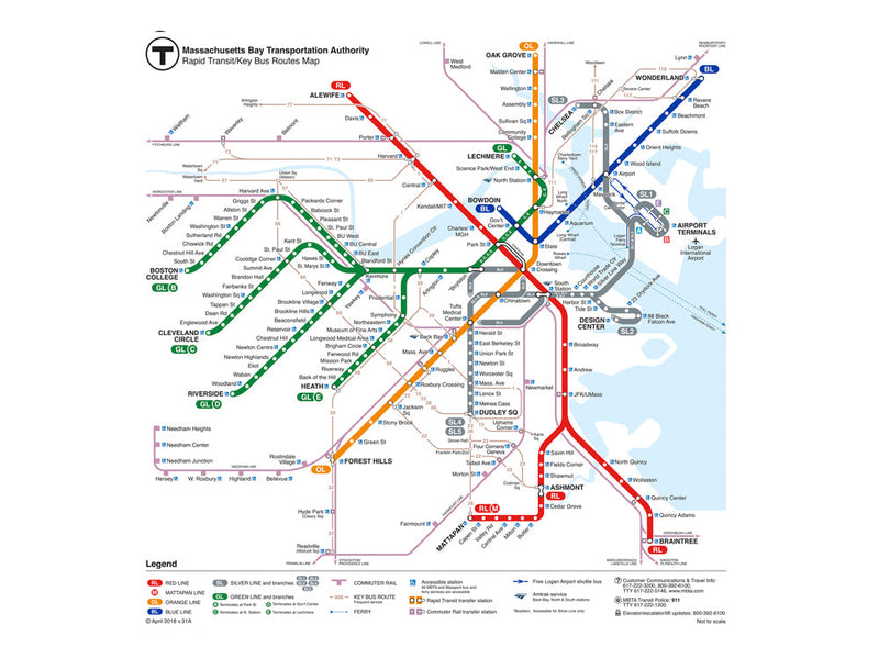 MBTA Map 2018 Greeting Card