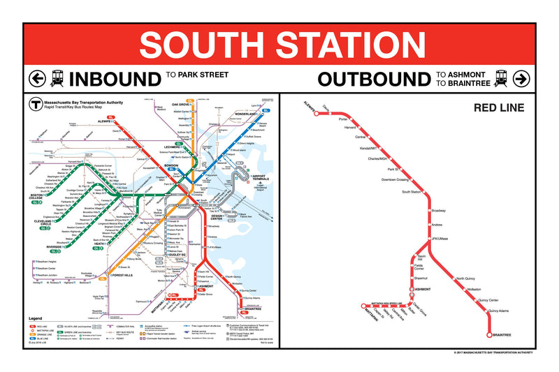 "MBTA Red Line Station Panel Prints (18""x24"")"