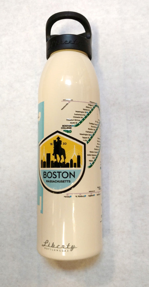 Boston MBTA Map Water Bottle ALMOND