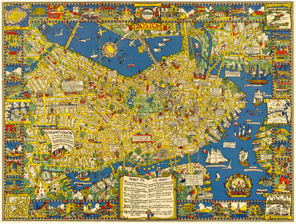 Boston, Massachusetts 1928 Pictorial Map