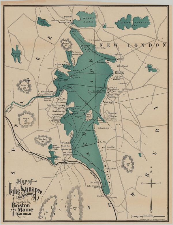 Lake Sunapee and Vicinity, New Hampshire 1903