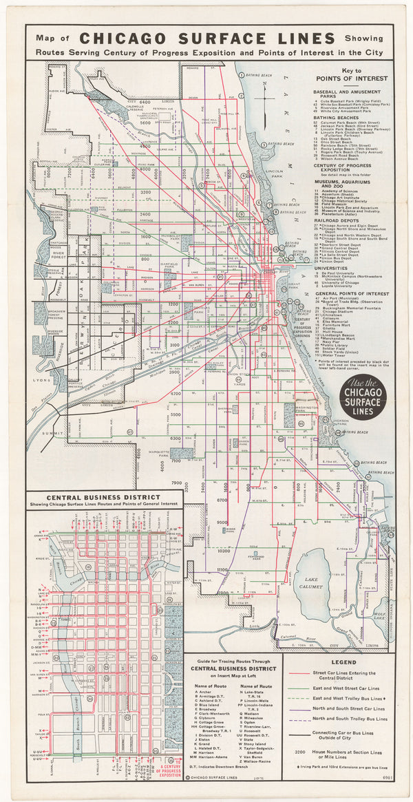 Chicago Surface Lines (Illinois) Transit System Map 1934