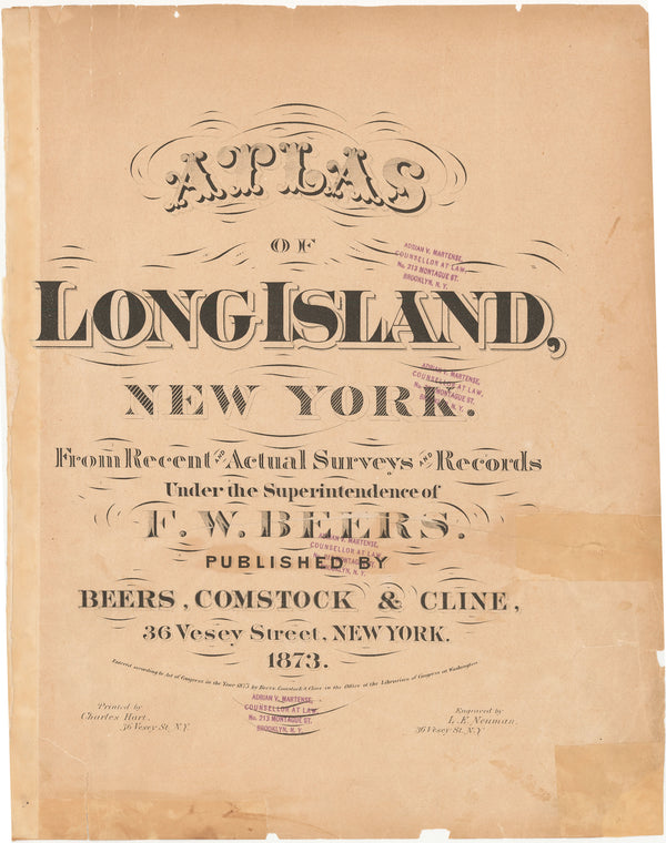 Atlas of Long Island, New York 1873 Title Page