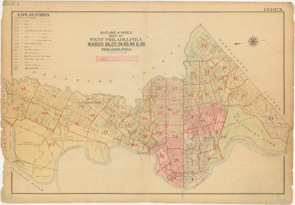 West Philadelphia, Pennsylvania 1918 Index Map