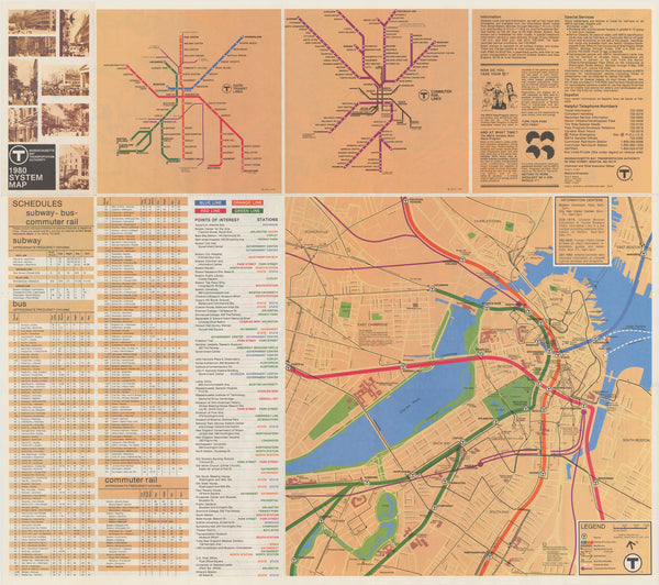 1980 MBTA System Map (Back)