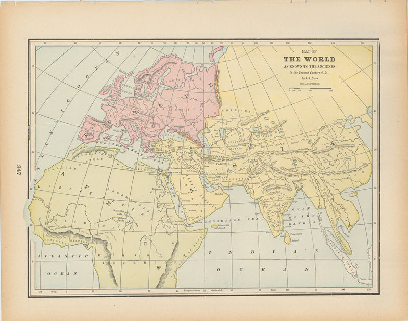 Classical Map 1894: The World as Known to the Ancients in the 2nd Century A.D.