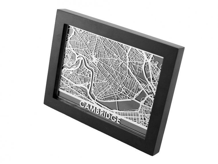 Cambridge Stainless Steel Cut City Map