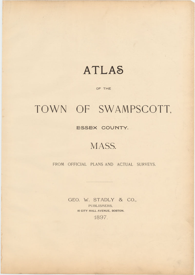 Atlas of the Town of Swampscott, Massachusetts 1867 Title Page