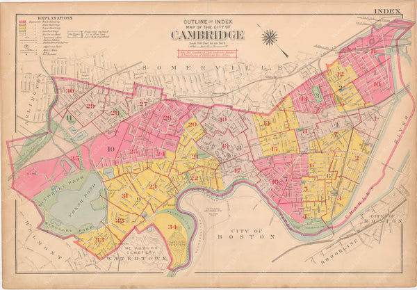 Cambridge, Massachusetts 1916 Index Plate