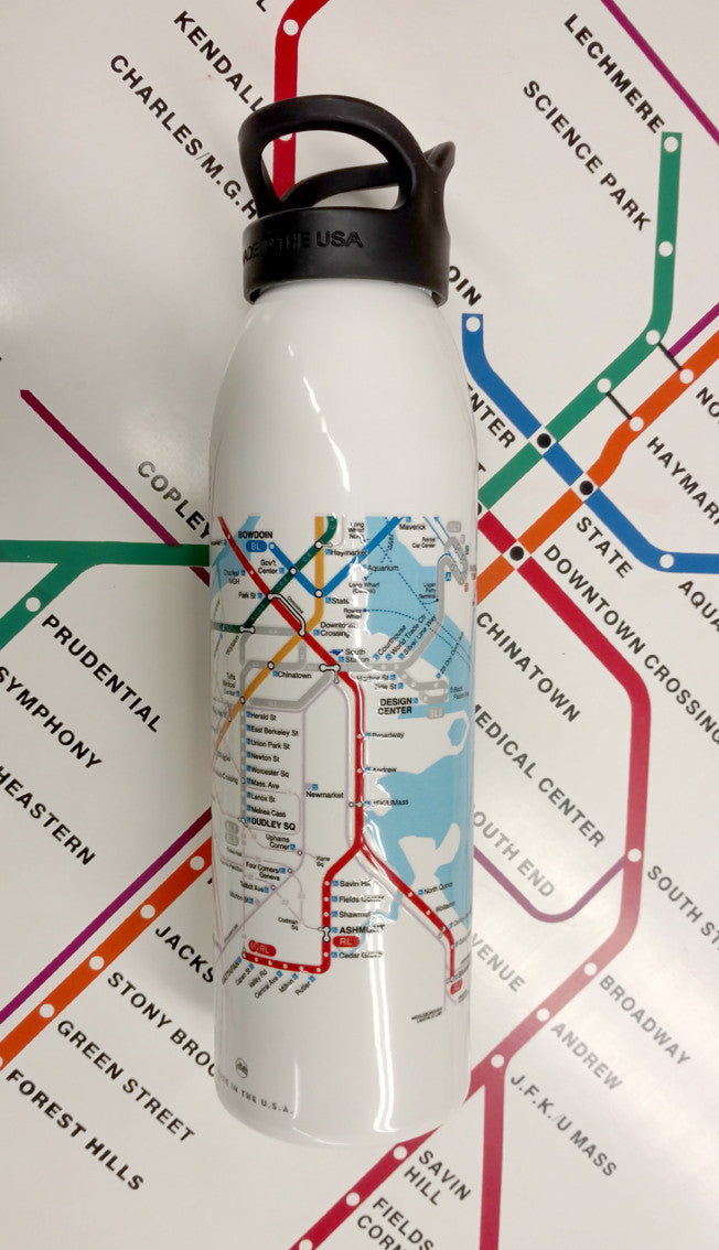 Boston MBTA Map Water Bottle WHITE