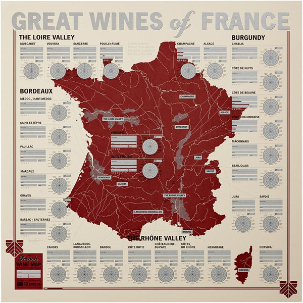 Wine Tasting Map: Great Wines of France