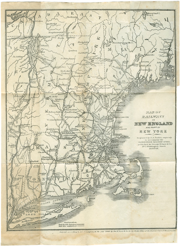 New England Railway Map for Snow's Pathfinder Railway Guide 1849
