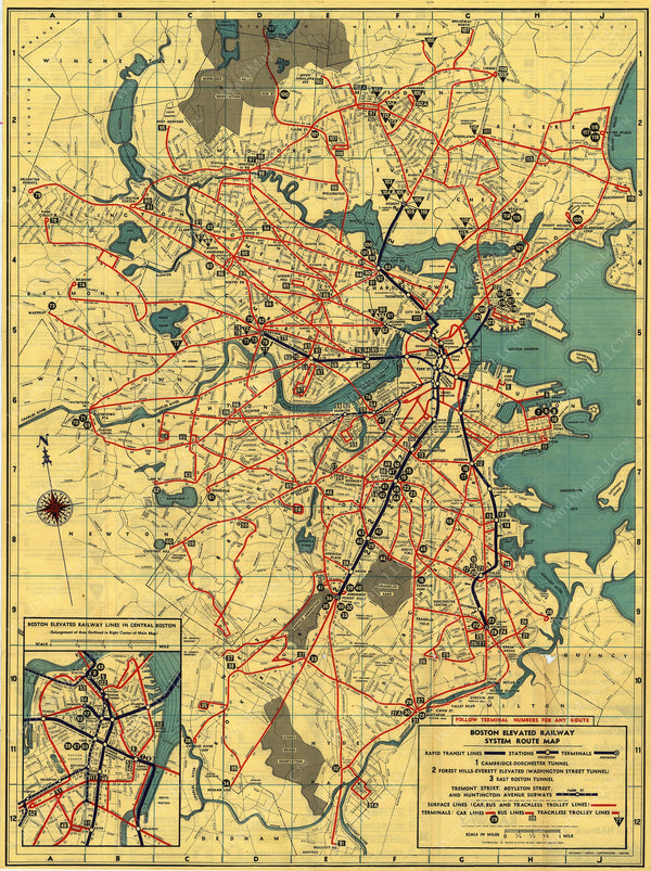 Boston Elevated Railway Co. (Massachusetts) System Route Map #5 1942