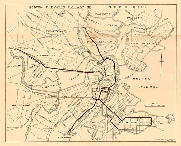 Boston Elevated Railway Co. Proposed Routes 1897