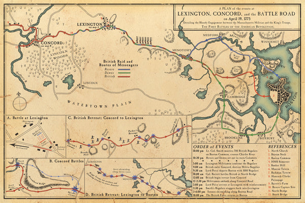 Plan of the Events Along Battle Road April 19, 1775 (Boston, Concord, and Lexington, Massachusetts)